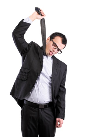 suicidal businessman hanging himself on his tie, isolated on white Stock Photo - 11929266