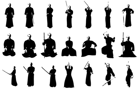 silhouettes of a kendo fighter with bokken and shinai photo