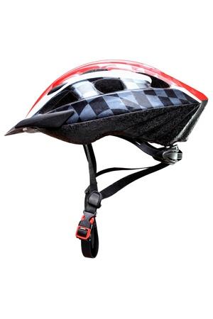 casco rojo: casco de bicicleta de monta�a, aisladas sobre fondo blanco Foto de archivo