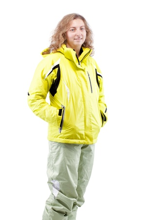 female skier portrait isolated on white background photo