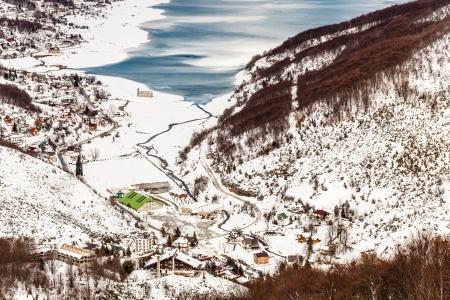 wintersport: winter landscape - Mavrovo Lake, Macedonia - view from the ski center Zare Lazarevski