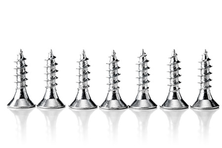 group of zinc coated screws, isolated on white Stock Photo
