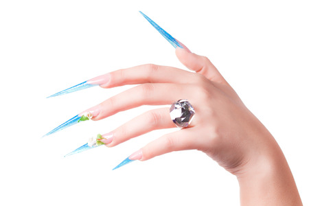 long nails: extremely long nails with nail-art and crystal jewellery, Stock Photo