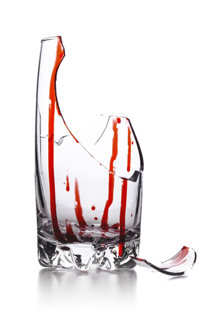 broken glass with blood isolated on white background Stock Photo