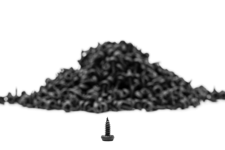 group of black screws for fixing metal profiles