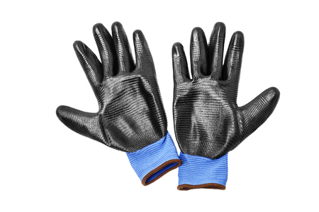 Blue protective gloves, with black rubber Stok Fotoğraf