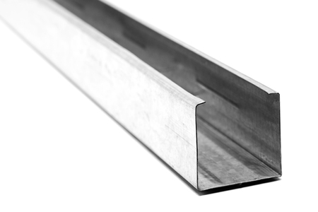 C shaped metal profile for drywall support isolated on white background