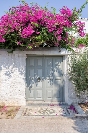 Grey gate on a white wall, in Spetses island, Greece photo