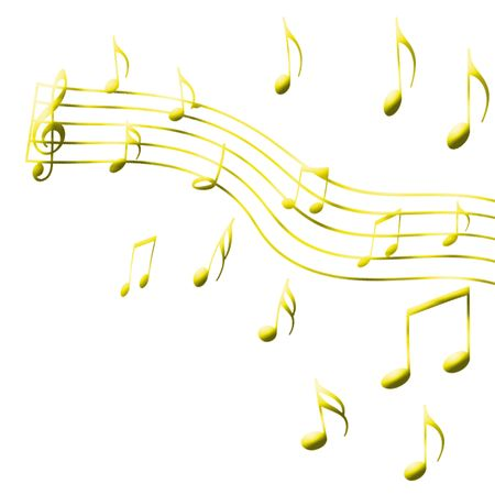 sheetmusic: gold music note on the white background