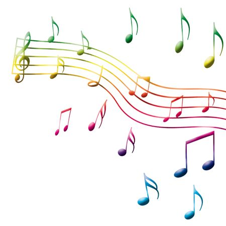 hymn: happy music note on the white background