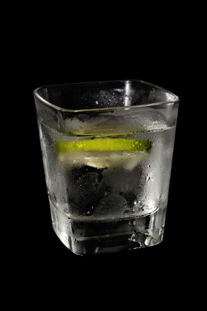 rhum: fresh drink with ice & lime Stock Photo