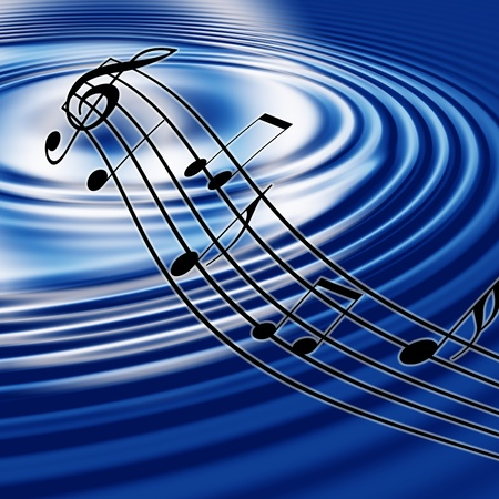 blue waves and music symbol  Stock Photo - 8405867