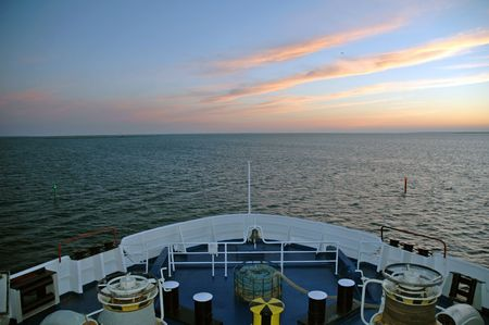 ship and sunset photo