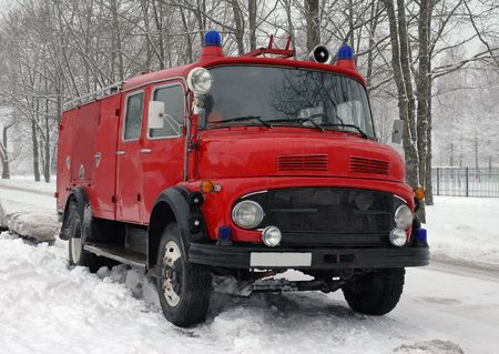 vintage fire truck at winter Stock Photo - 4440404