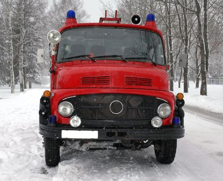 vintage fire truck at winter Stock Photo - 4440396