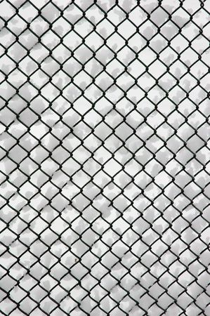 cribriform: Metal net texture background with snow Stock Photo