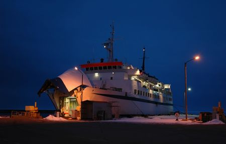 night shot of ferry ship in harbor Stock Photo