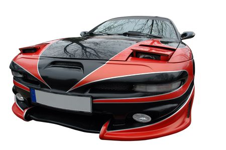 sportcar: red and black modern sport-car isolated  Editorial