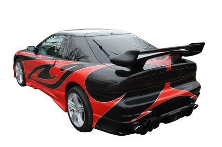 o: red and black modern sport-car isolated