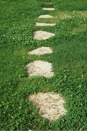 abstract footpath on green grass photo