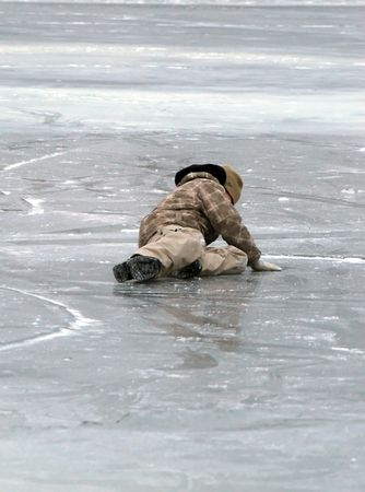 winter escape: boy on ice