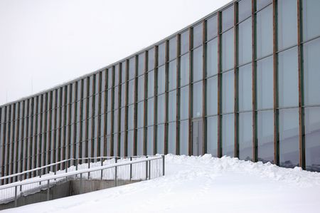 modern geometric office architecture at winter