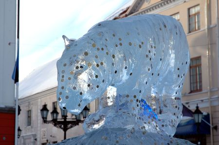 carved ice statue of tiger for oriental new year celebration