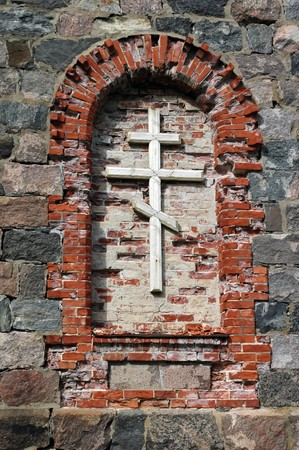 rood in orthodox cathedral ruins in Tõrva, Estonia  photo