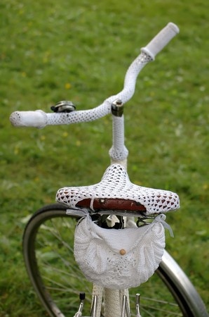 retro bike with white crochet clothing  photo