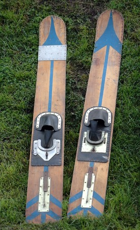 old-fashioned wooden waterski pair Stock Photo