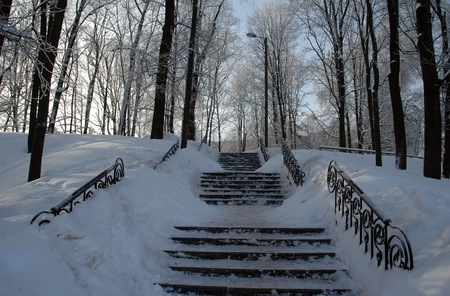 public stairway at winter Stock Photo