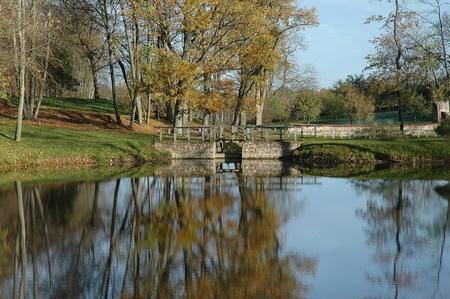 autumn trees and small dam at Luke manor in Estonia