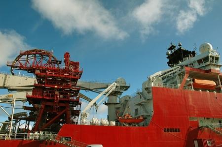 Big industrial ship in harbor at Kristiansund, Norway
