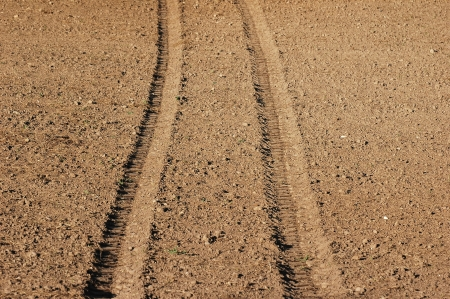Tractor Tracks on fresh field photo