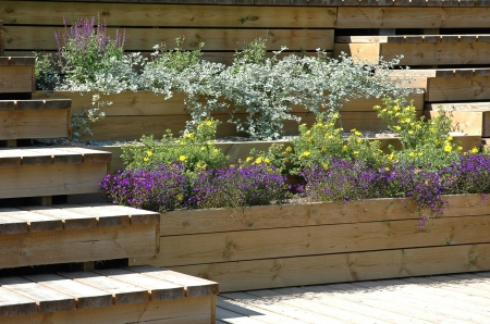 wooden terrace with flowers