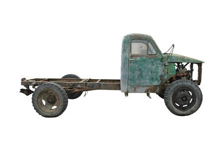 Old abandoned truck isolated on white Standard-Bild
