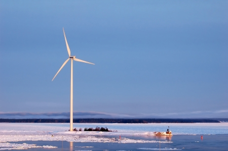 turbin: wind turbine generating electricity at seaside in Sweden