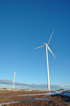 turbin: two wind turbine generating electricity at seaside in Sweden