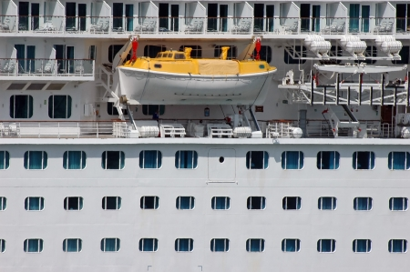 Safety lifeboat on deck of a cruise ship Stock Photo