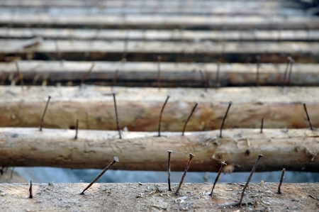 old rusty nails in purlins on roof photo