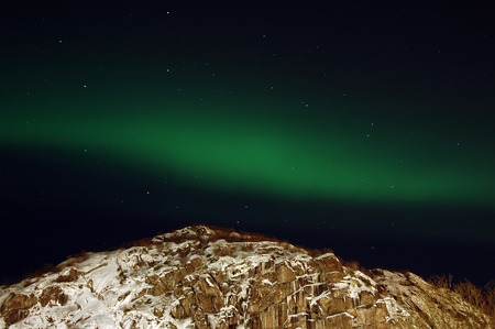 ionosphere: Aurora borealis  northern lights  and lots of stars around the constellation  Big Dipper   Stock Photo