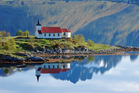 Vestpollen chapel in Austnesfjord, Lofoten Islands, Norway, Scandinavia, Europe