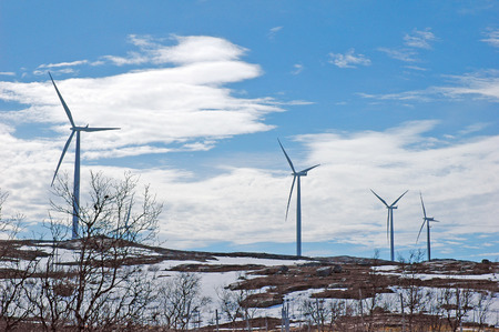 mountin: wind turbine generating electricity at mountin area in northen Sweden