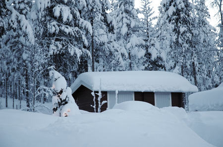 Christmas tree with small cottage at beautiful Lapland winter forest photo