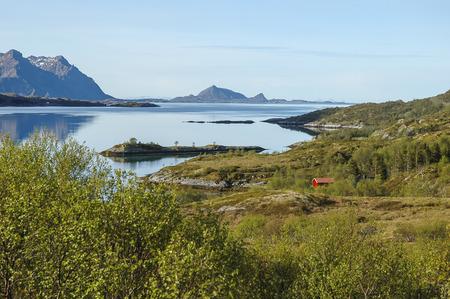 schlagbaum: Im Hinblick auf die in Norwegen, Lofoten Fjord