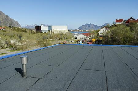 new roof construction at seaside Standard-Bild