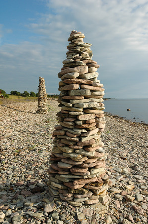 Rock Piles At The Coast Of The Swedish Island Oland Stock Photo