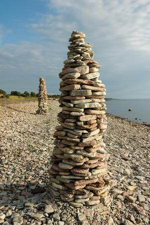 Rock Piles At The Coast Of The Swedish Island Oland Standard-Bild