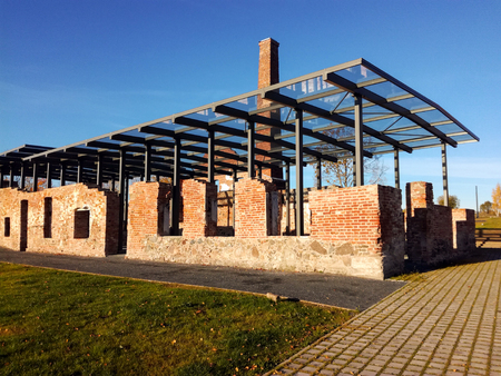Old ruins with modern glass roof