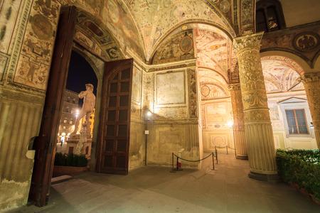 pilasters: Interior of the Palazzo della Signoria or Palazzo Vecchio in Florence, Tuscany, Italy